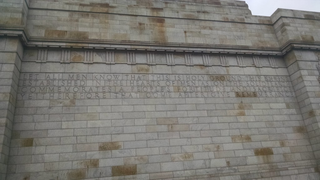 The inscription on the wall immortalized the sodiers and their sacrifices